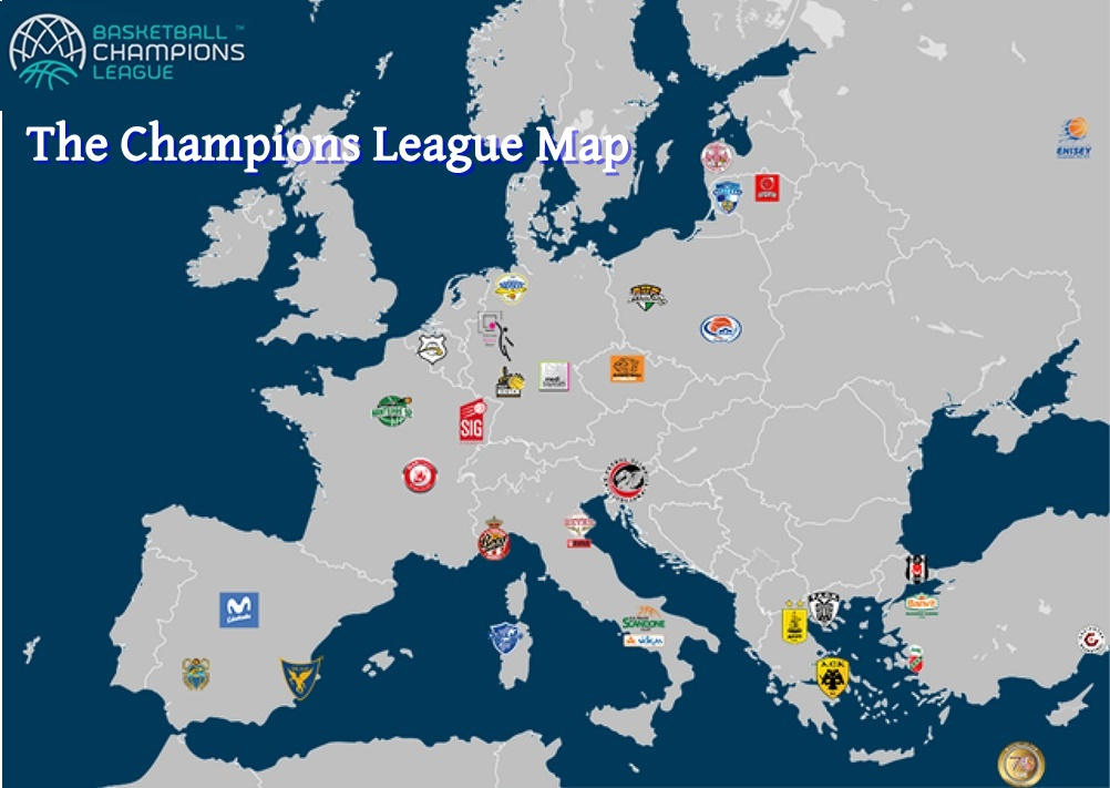 The Champions League Map Eurohoops - Juventus italy map