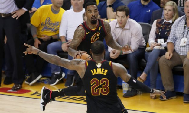 online store be533 ed34e LeBron James and JR Smith's jerseys from NBA Finals Game 1 ...